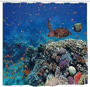 N\A Decoración del océano, Peces exóticos y Tortugas en Agua Dulce sobre corales pedregosos Bio Diversity Wild Life Photo, Cortina de Ducha Multi Impermeable