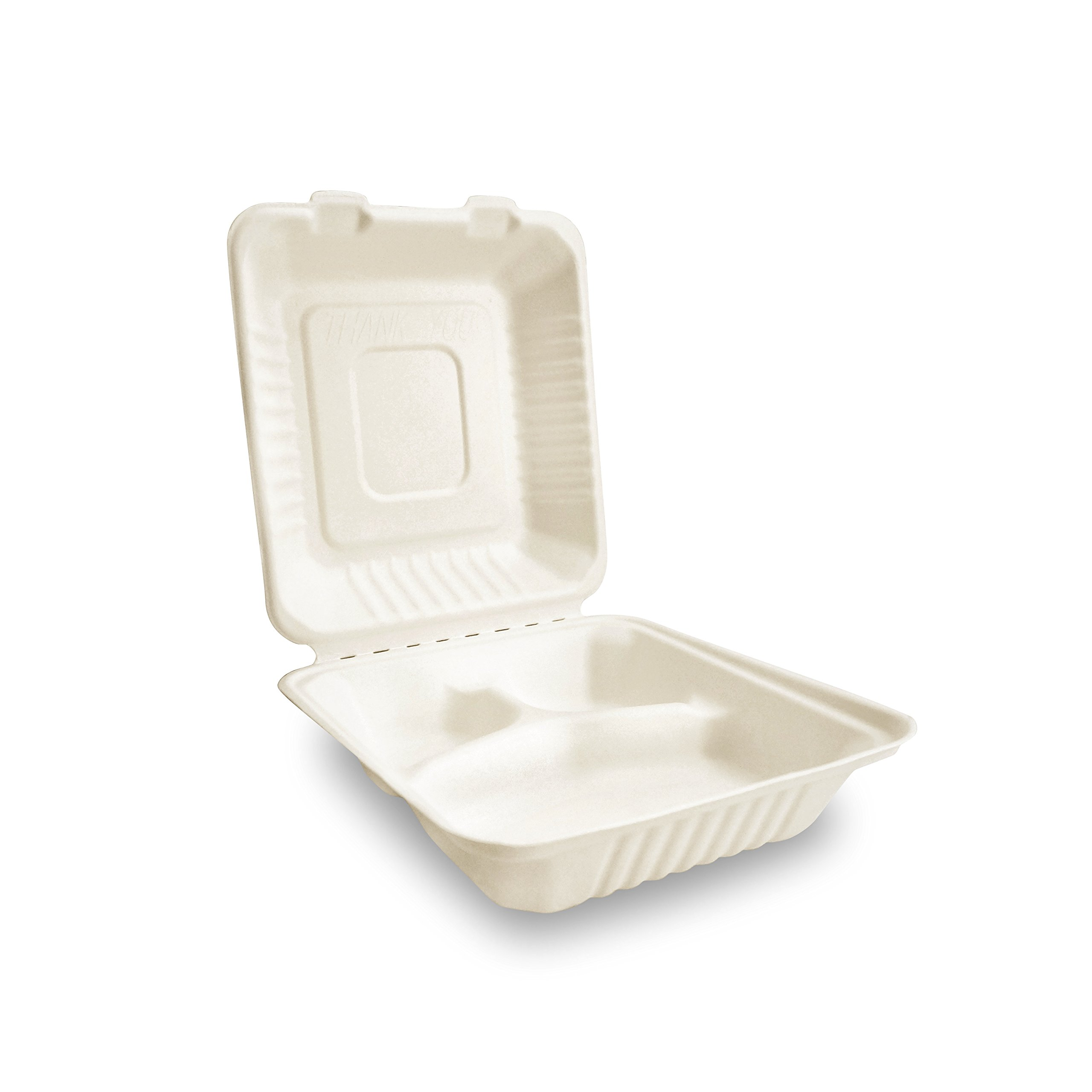 Restaurant/School Take Out Food Container by Green Earth,with Clamshell Hinged Lid, Natural Bagasse (Sugarcane Fiber) Eco-Friendly, 8 inches, 3 Compartment - (200 Count)
