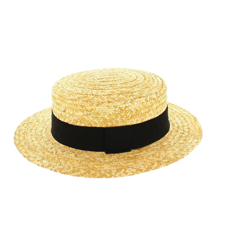 Lady Boater Hat Lady chapeau de paille Bow chapeau plat Chapeau chapeau de paille Summer Beach Sun Hat