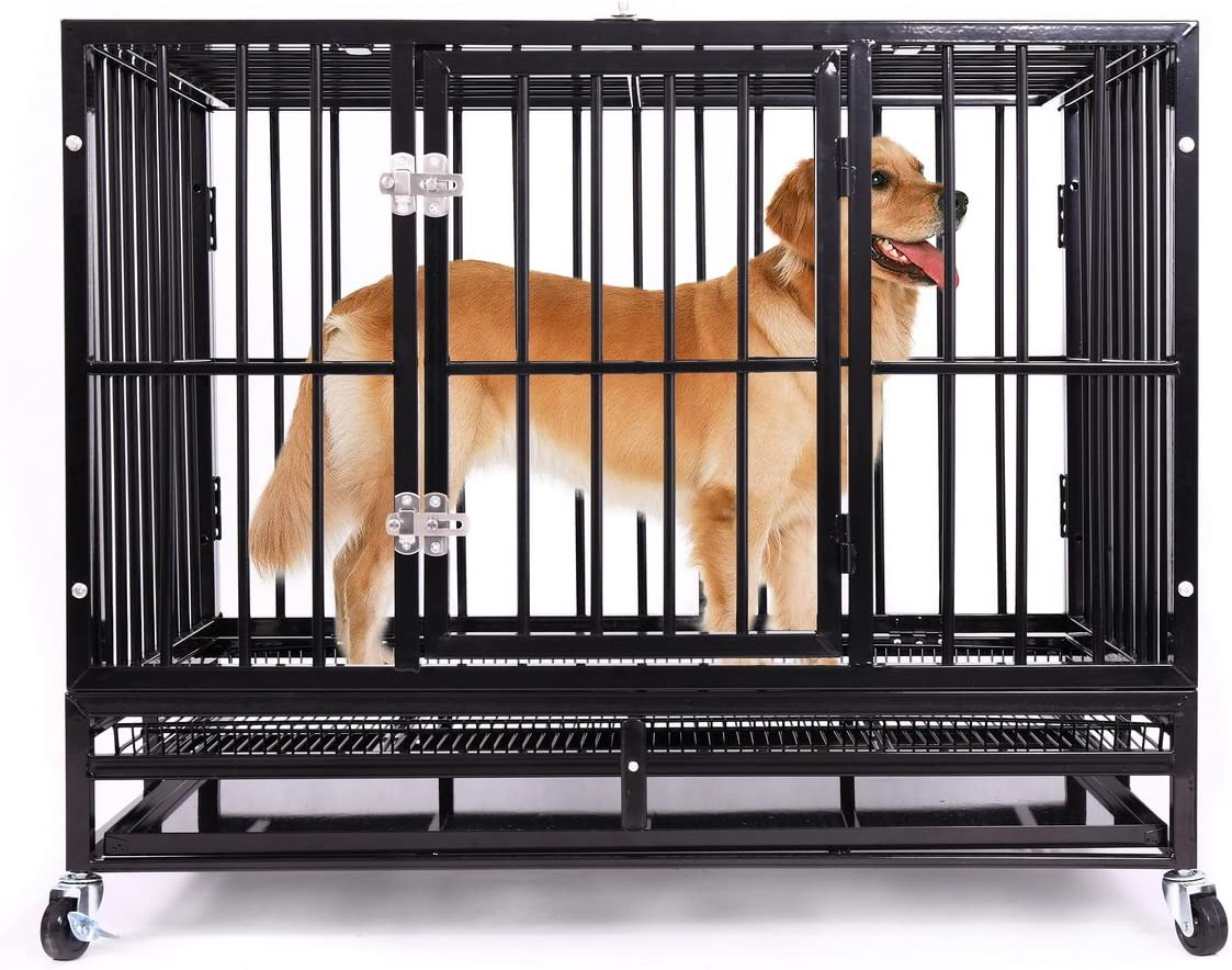 Haige Pet 36 Heavy Duty Dog Crate, Medium Metal Strong Dog Kennel Cage with Tray and Wheels Black
