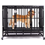 Heavy Duty Dog Crate,Haige Pet Large Metal Strong Dog Kennel Cage with Wheels and Tray