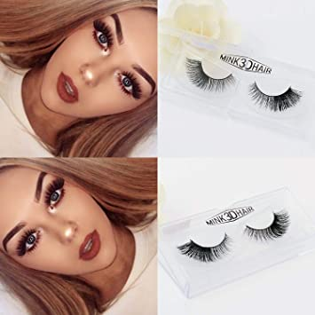 7f394261bff Amazon.com : Veleasha Lashes D08 3D Mink Lashes 100% Handmade Reusable  False Eyelashes for Makeup 1 Pair Pack : Beauty