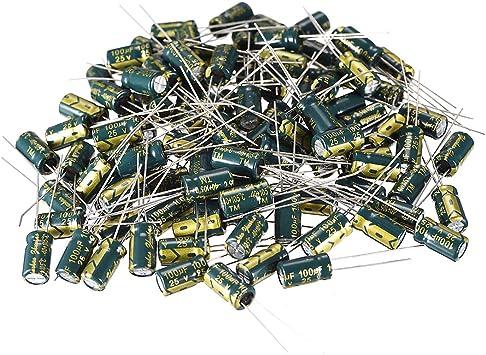 100pcs condensateur électrolytique alu faible ESR 100UF 25V 105°C 3000H 6x11,5mm