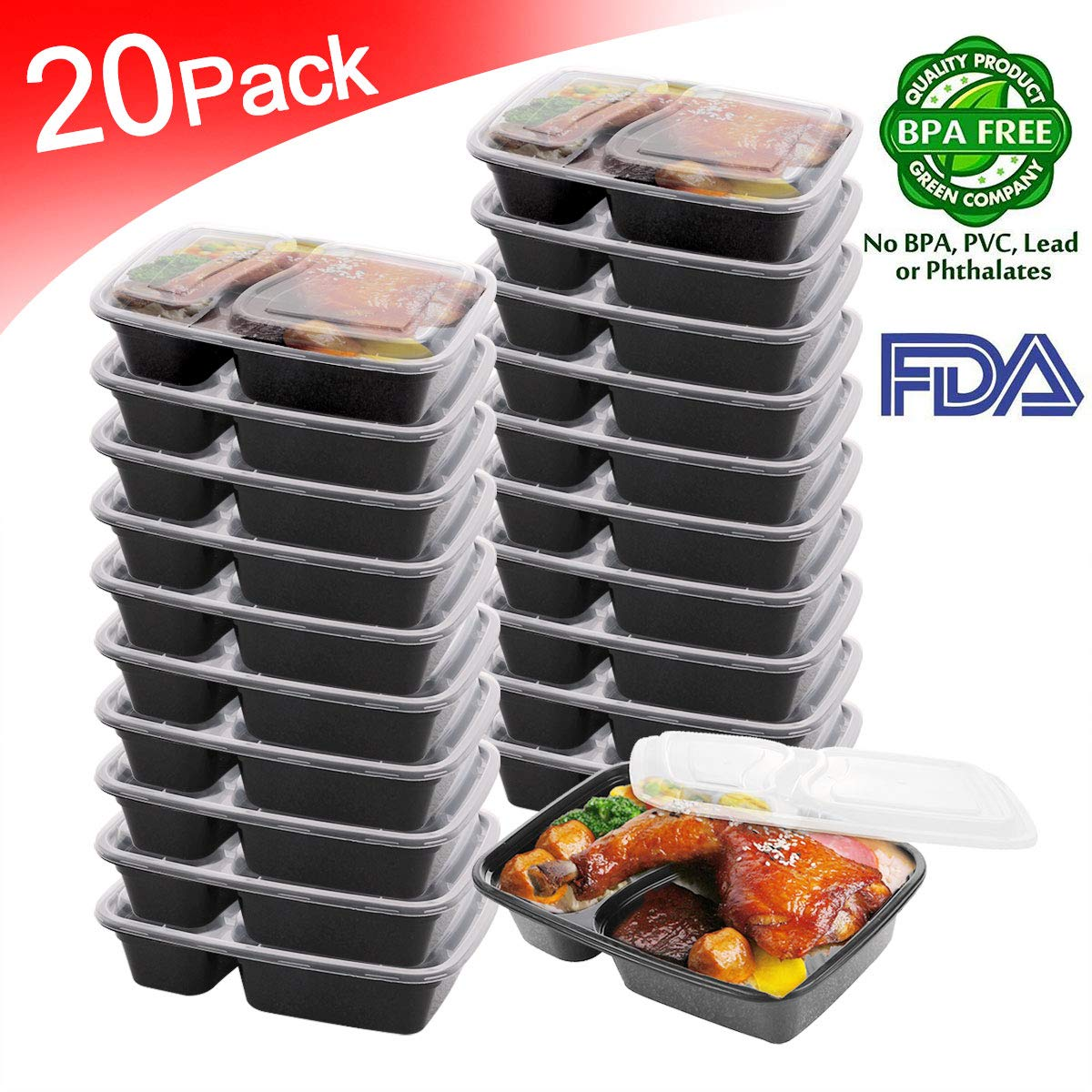Bento Box Meal Prep Containers 2 Compartment [20pack] Food Storage Containers |BPA Free | Stackable |BPA Free|Reusable Lunch Boxes,Microwave/Dishwashe/Freezer Safe,Portion Control (34 oz) …