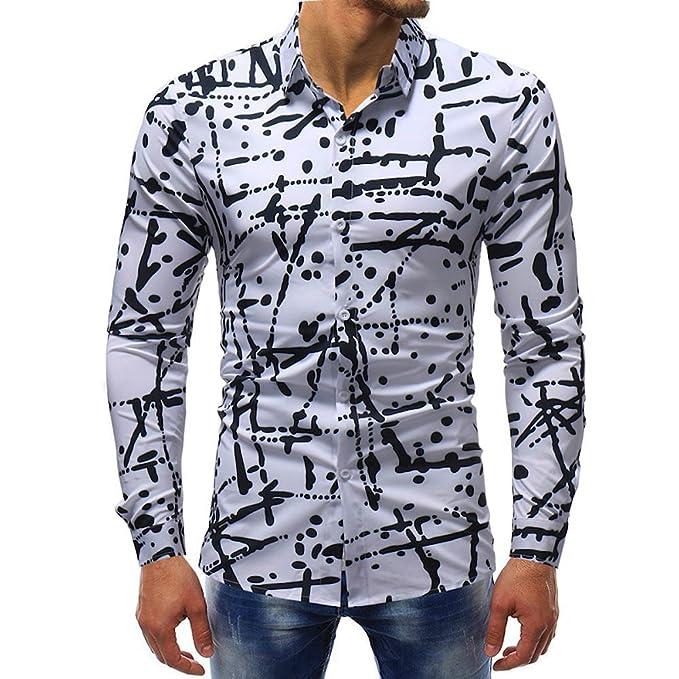 YanHoo Protección contra el frío Blusa Impresa de la Manera del Hombre Camisas Ocasionales de Manga Larga Slim Tops: Amazon.es: Ropa y accesorios