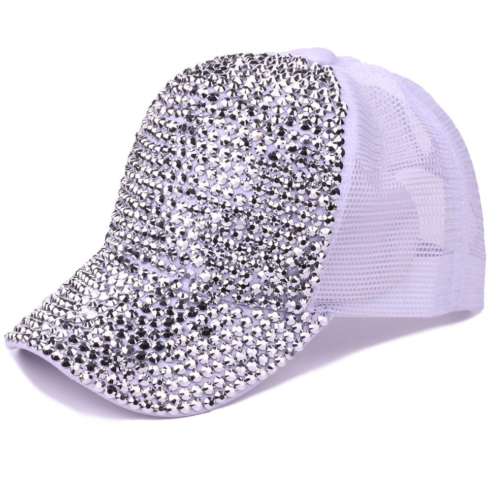Women Bling Studded Rhinestone Crystal Love Lips Baseball Caps Hats