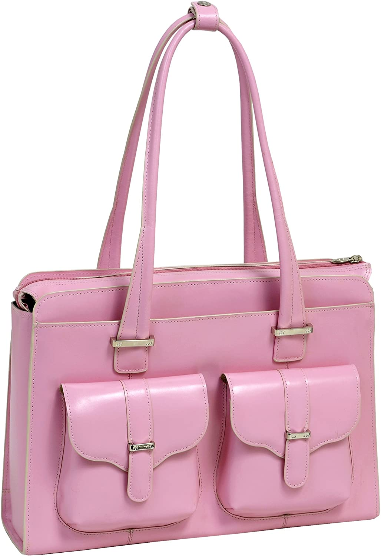 "McKlein, W Series, Alexis, Top Grain Cowhide Leather, 14"" Leather Ladies' Laptop Briefcase, Pink (96549)"