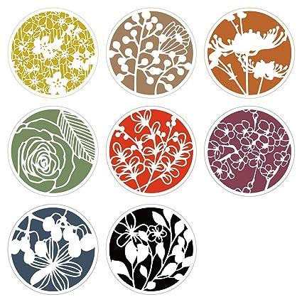 Lirener 8 piezas forma redonda plástico dibujo pintura Stencil(patrones de flores) para diario
