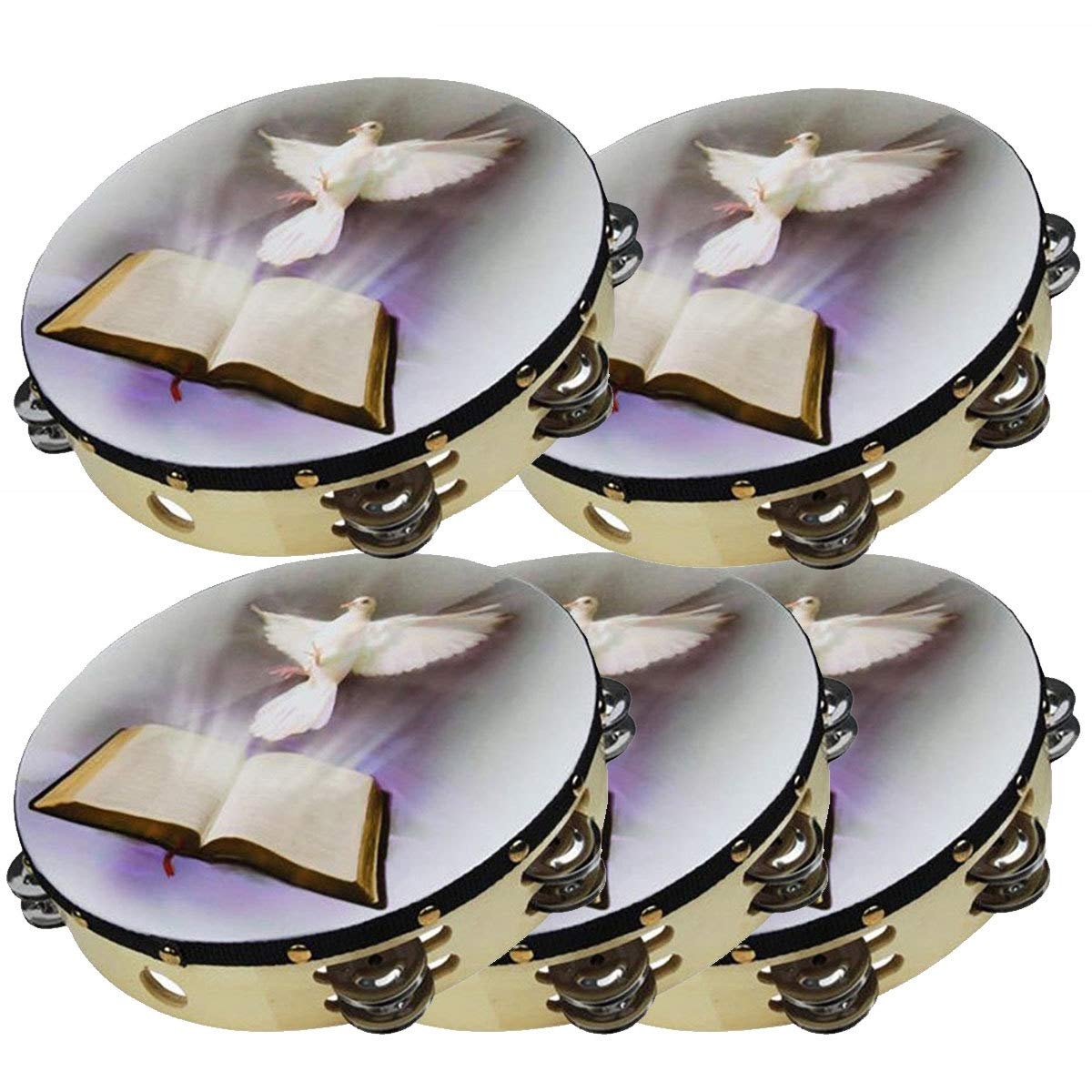 5-Pack 10'' Dove Bible Tambourine Double Row Jingle Percussion Instrument Church by Zebra Sound