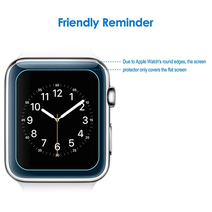 JETech Protector de Pantalla para Apple Watch 42mm, Vidrio Templado, 2 Unidades: Amazon.es: Electrónica