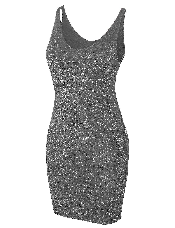 HRYfashion Damen Premium Minikleid knielang anspruchsvolles Design aermellos figurbetonend