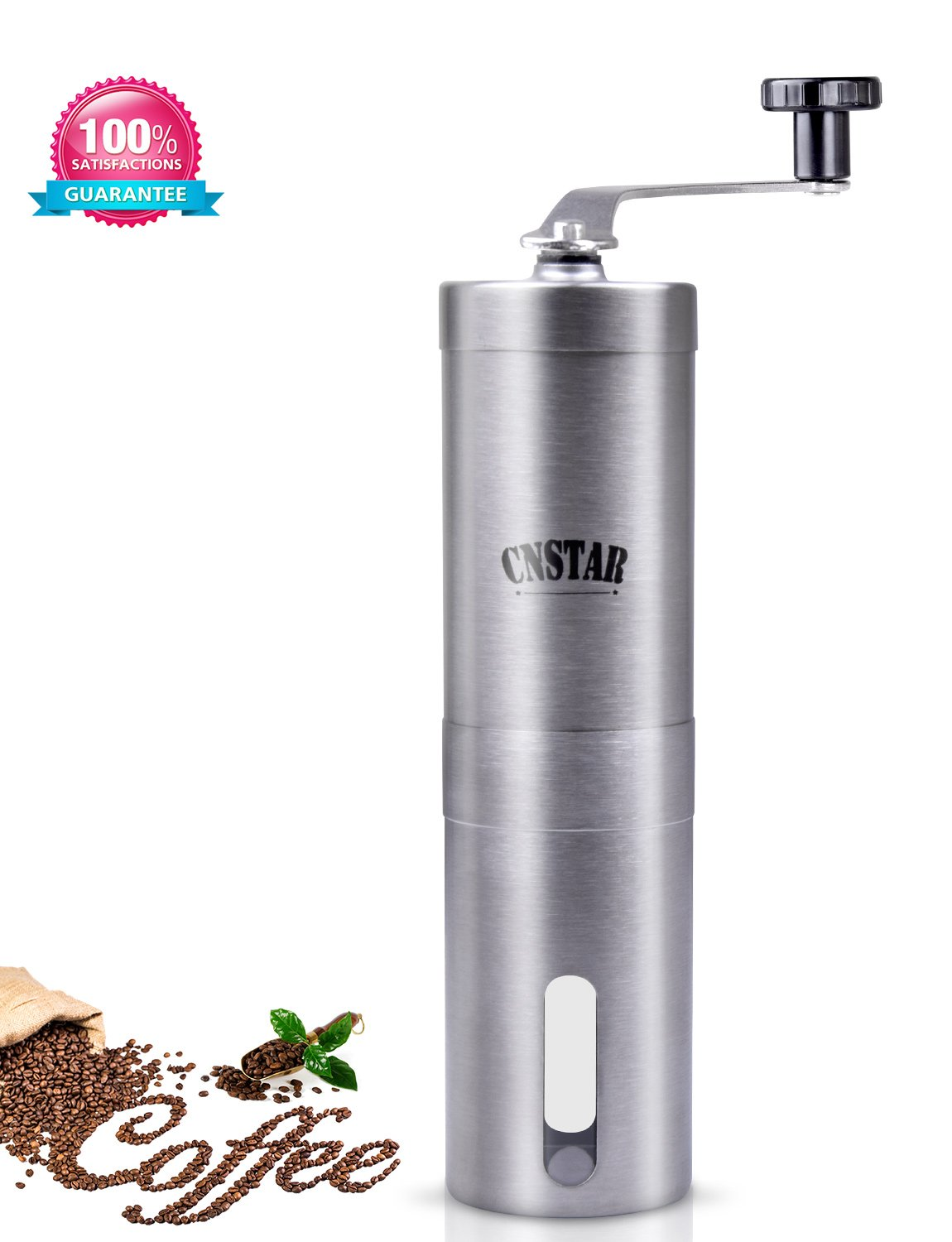 CNSTAR Hand Manual Coffee Bean Burr Grinder for Precision Brewing Manual Stainless Steel, Conical Burr Mill Hand Crank