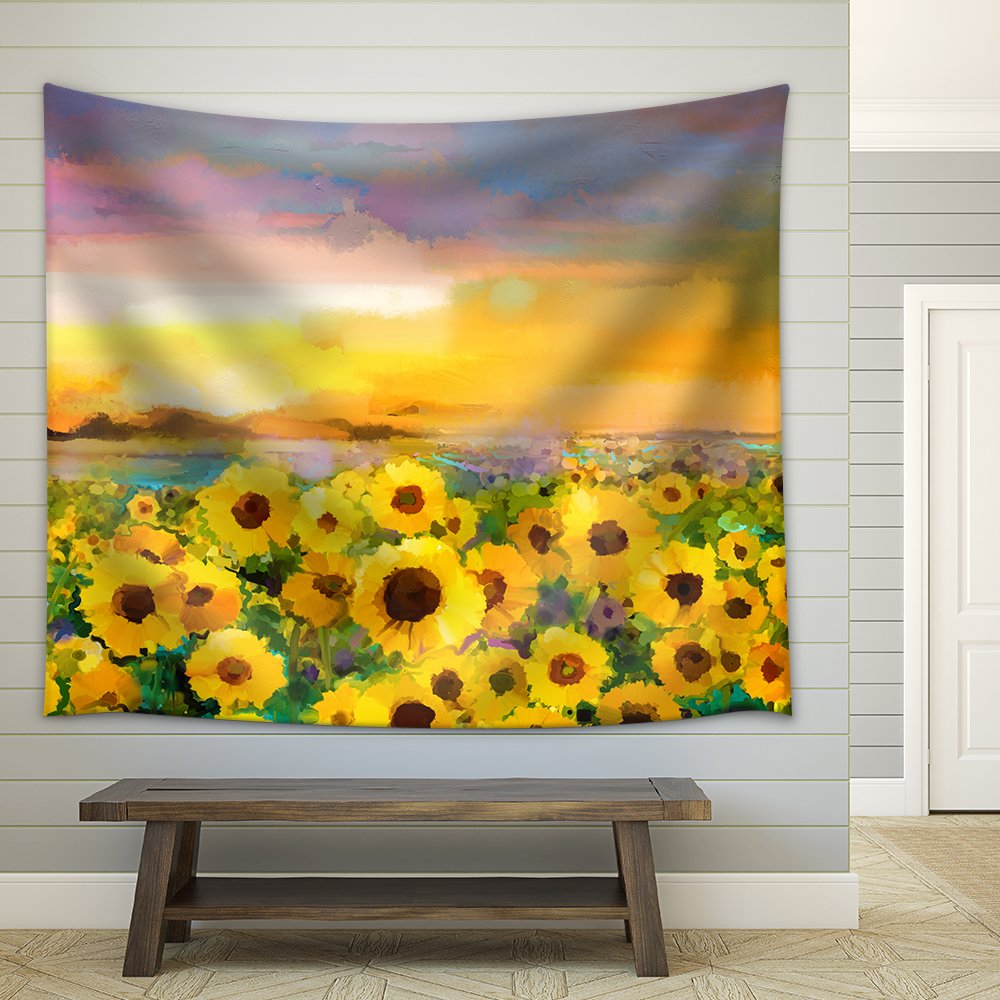 Oil Painting Yellow Golden Sunflower Daisy Flowers In Fields Fabric
