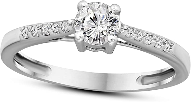 1//2ctw Diamond Engagement Ring in 10k Yellow Gold H-I, I2-I3