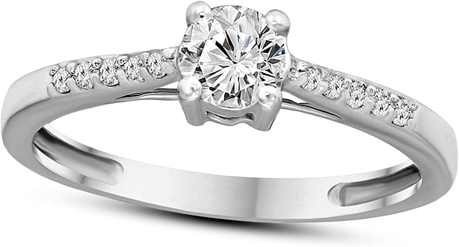 Womens white gold diamond ring with natural solitaire diamond