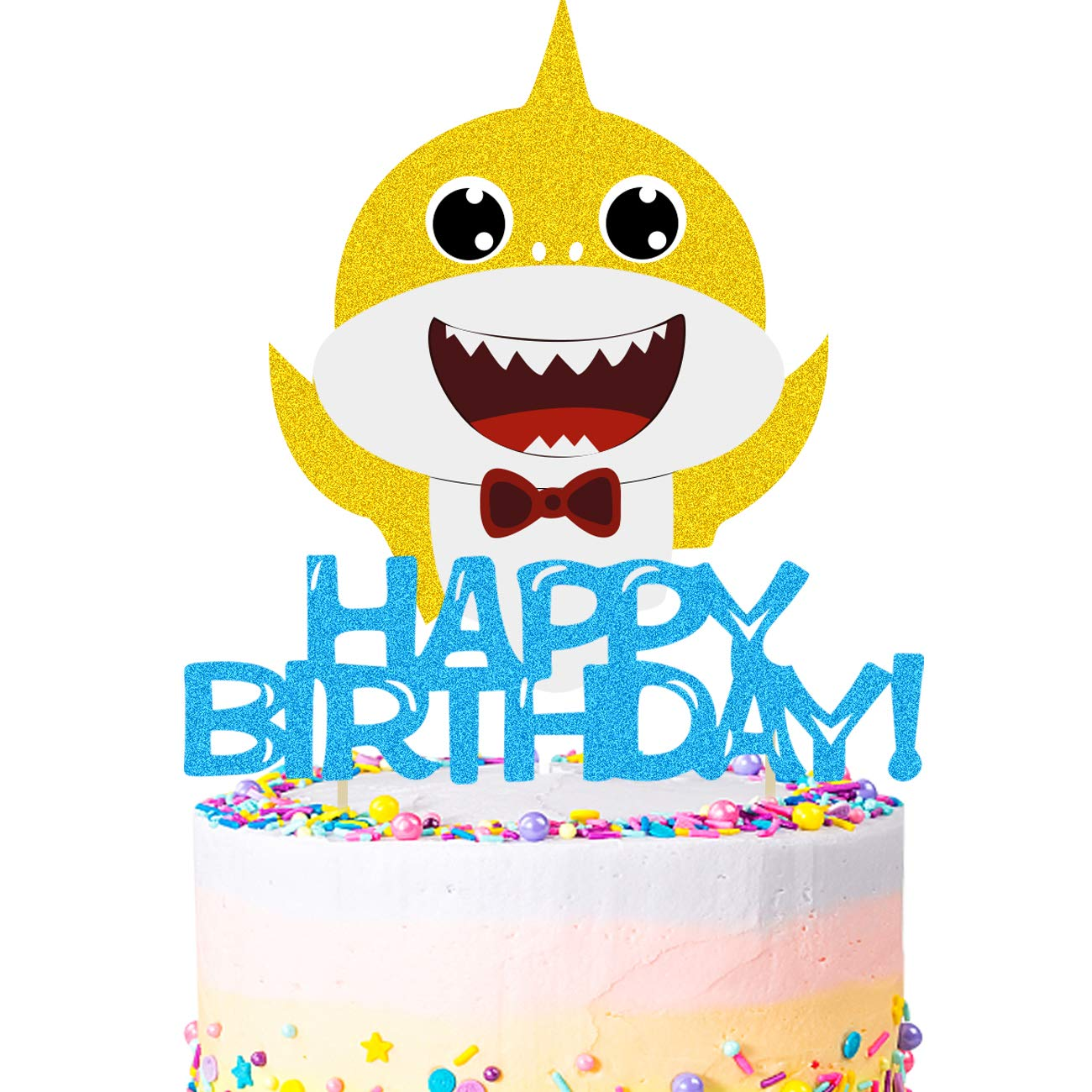 Cake Topper,Cadeya Cake Topper 5.9 x 5.9 Inches,Happy Birthday Cake Topper/Baby Little Shark Cake Decorations for Baby,Shower Birthday Party Supplies