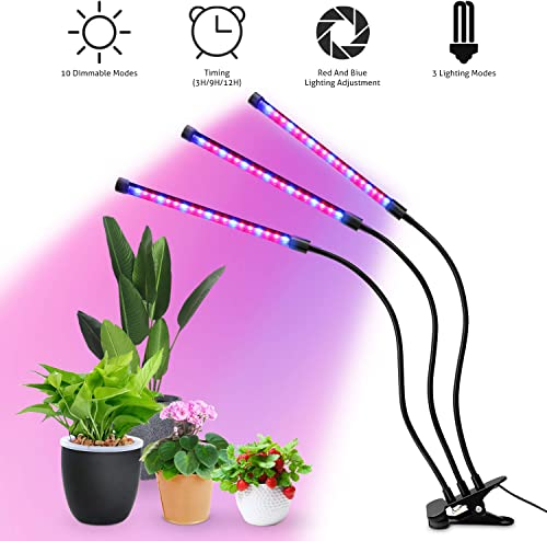 Grow Light, LED Growing Light for Indoor Plants, 27W Sunlike Full Spectrum Grow Lamp Bulb, Three Head Gooseneck Plant Grow Light Lamp,3 9 12H Memory Timing,10 Dimmable Levels for Gardening