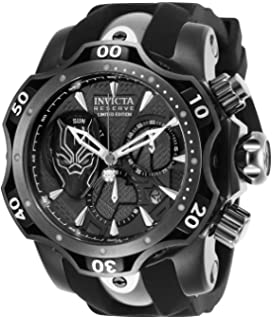 Invicta Mens Marvel Stainless Steel Quartz Watch with Silicone Strap, Black, 26 (Model