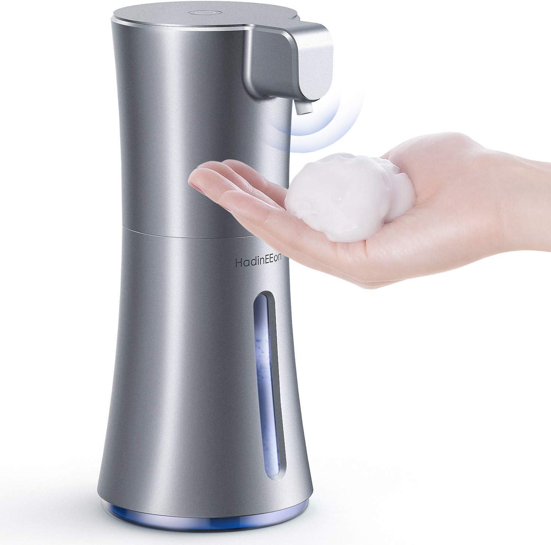 HadinEEon [Upgraded Version] Soap Dispenser, Automatic Foaming Soap Dispenser 12oz/350ml, Touchless Battery Operated Hand Free Foam Soap Dispenser, IPX3 Waterproof Dispenser for Bathroom, Dark Silver
