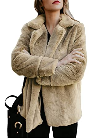 bc64e39397 Dokotoo Womens Fleece Winter Loose Fuzzy Casual Open Front Long Sleeve  Fluffy Jacket Coat with Pockets