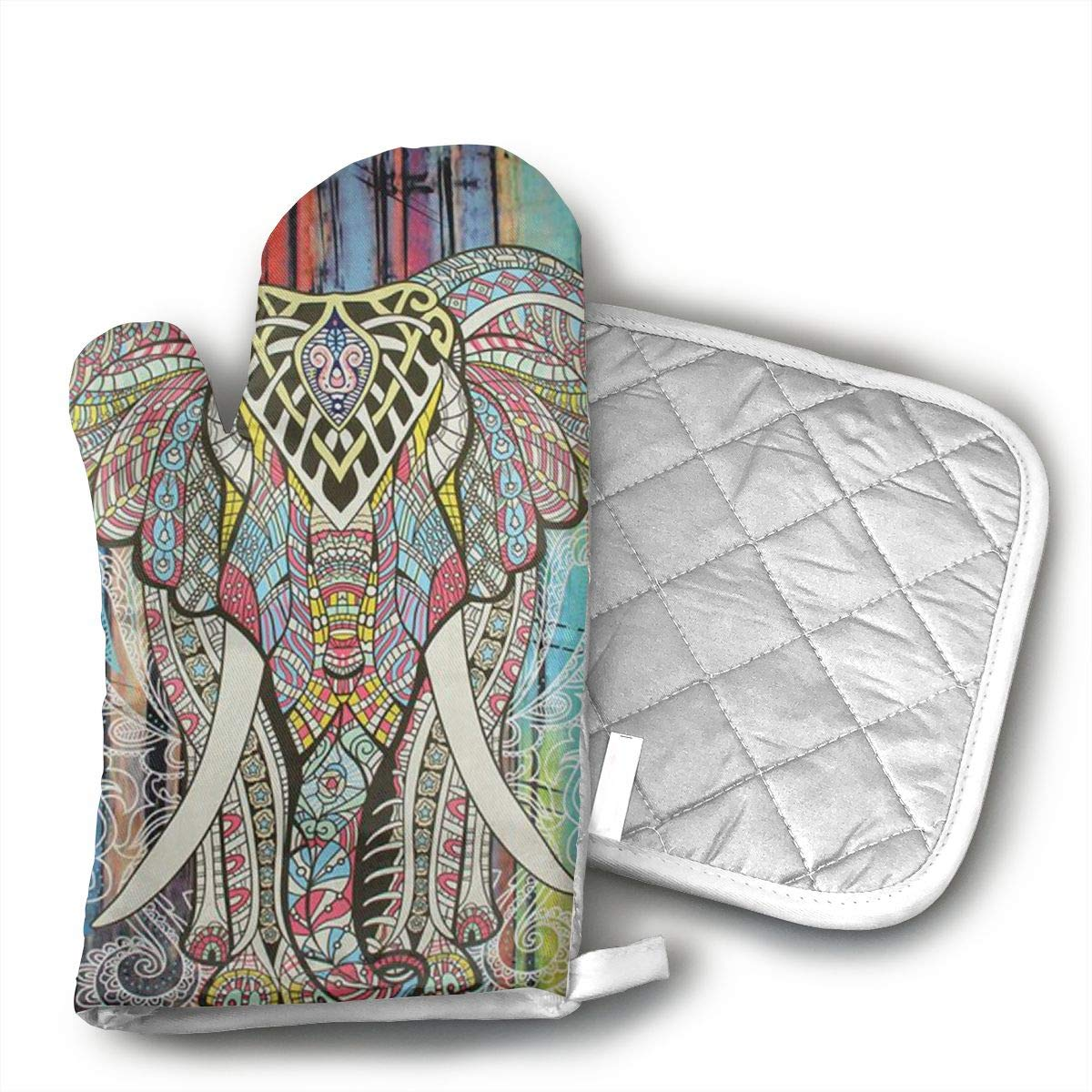 Wiqo9 Elephant Oven Mitts and Pot Holders Kitchen Mitten Cooking Gloves,Cooking, Baking, BBQ.