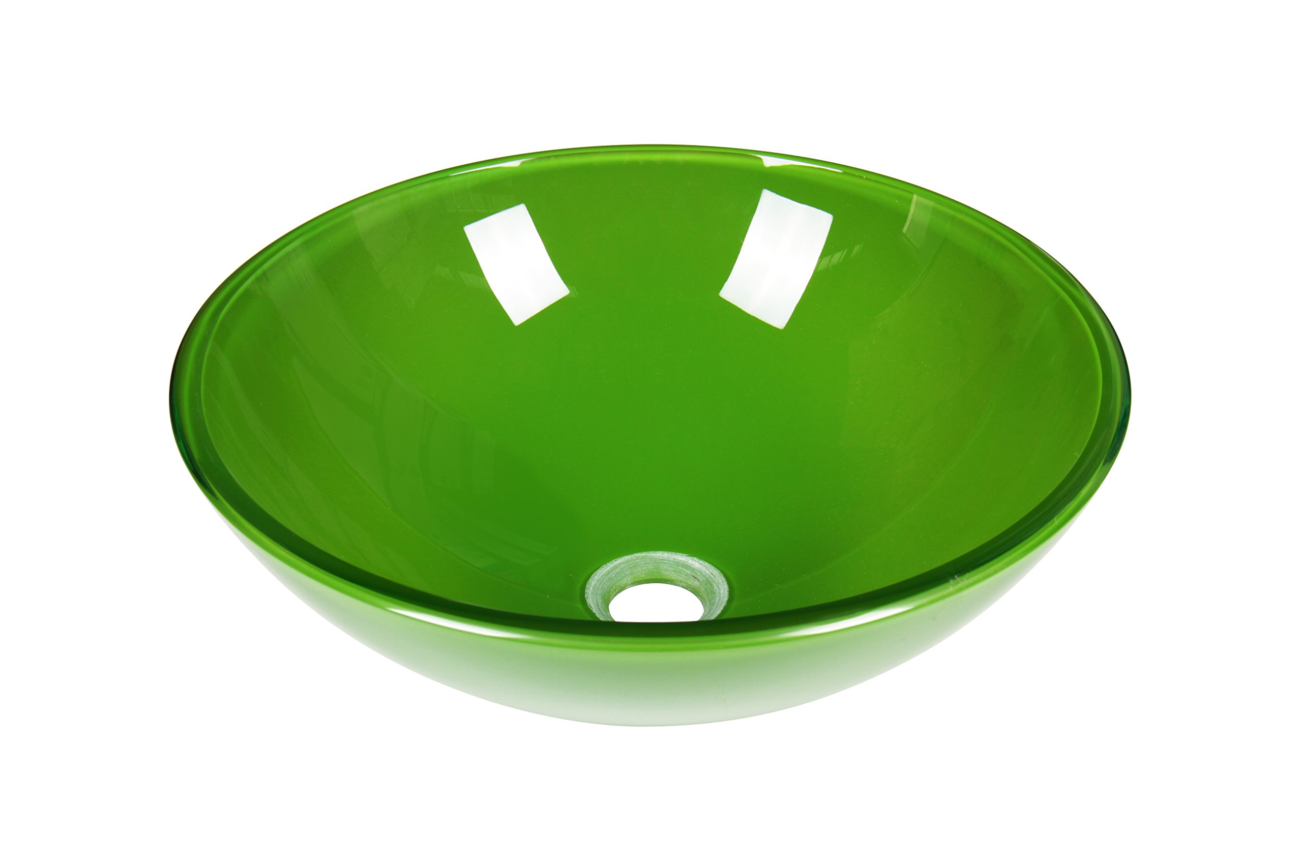 Jano Clear Green Tempered Glass Circular Vessel Bathroom Sink with Pop up Drain