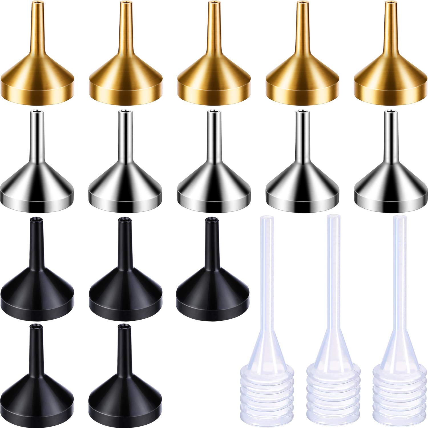 15 Pieces Metal Mini-Small Funnel Set with 3 Pack Mini Pipette for Essential Oils, Perfumes Spray Bottle, Perfume, Liquid (Gold, Silver, Black) Boao