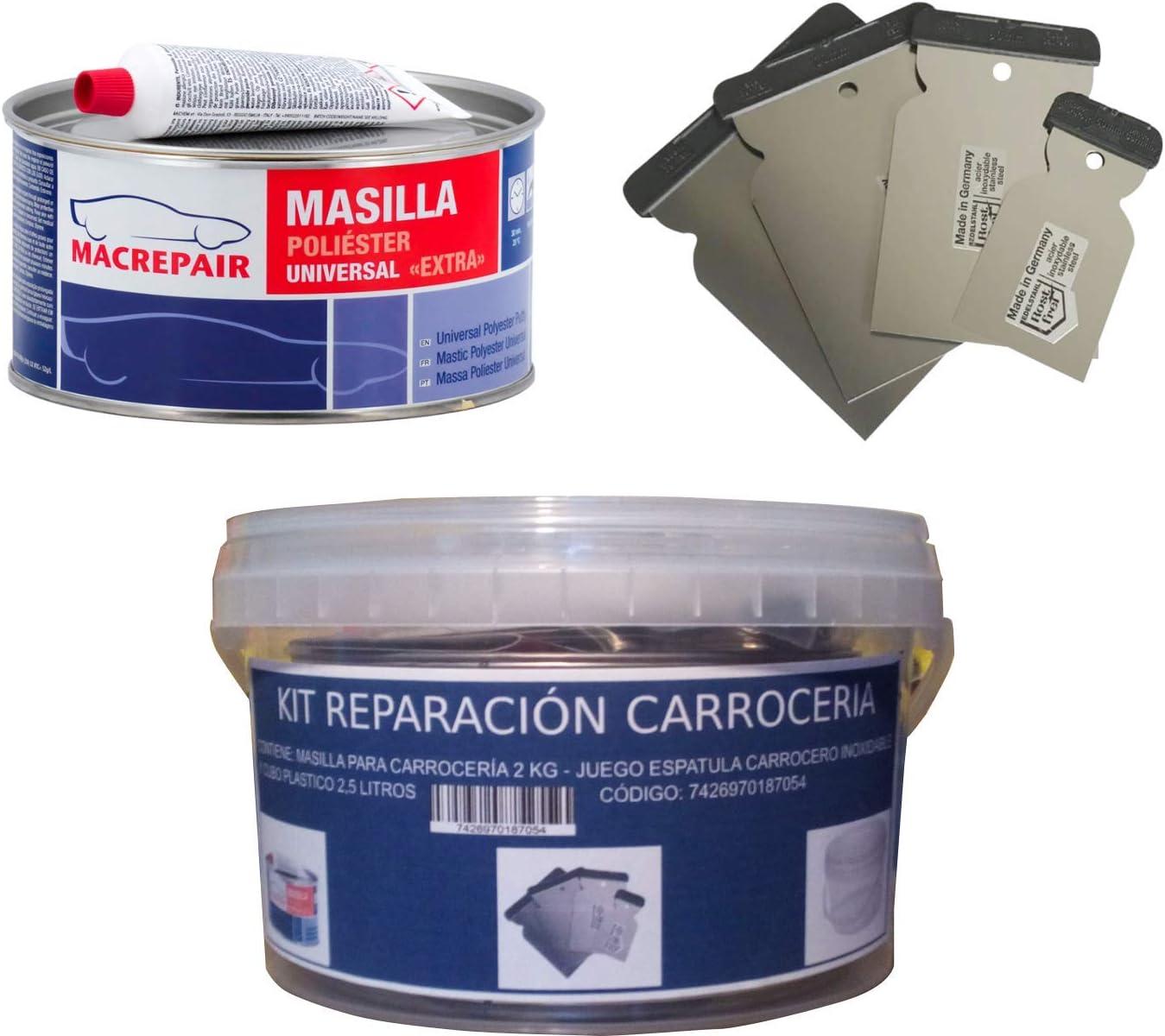 KIT REPARACION CARROCERIA (MASILLA PARA CARROCERÍA 2 KG + JUEGO ESPATULA CARROCERO INOXIDABLE + CUBO PLASTICO 2,5 LITROS) MAC+INOX