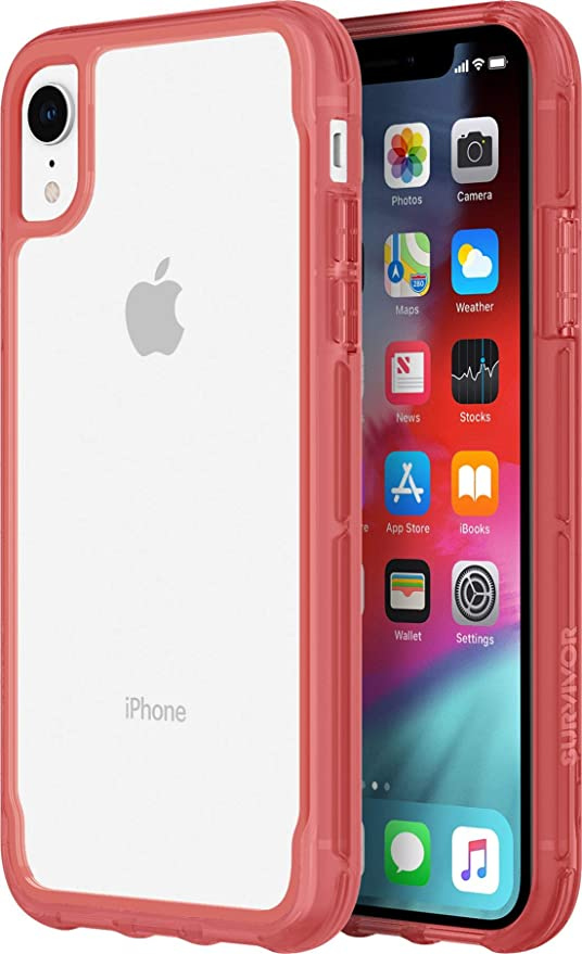 outlet store 9a6de e39df Griffin Griffin Survivor Clear for iPhone XR, Clear/Tomato - Clearly  Superior Drop Protection for iPhone XR