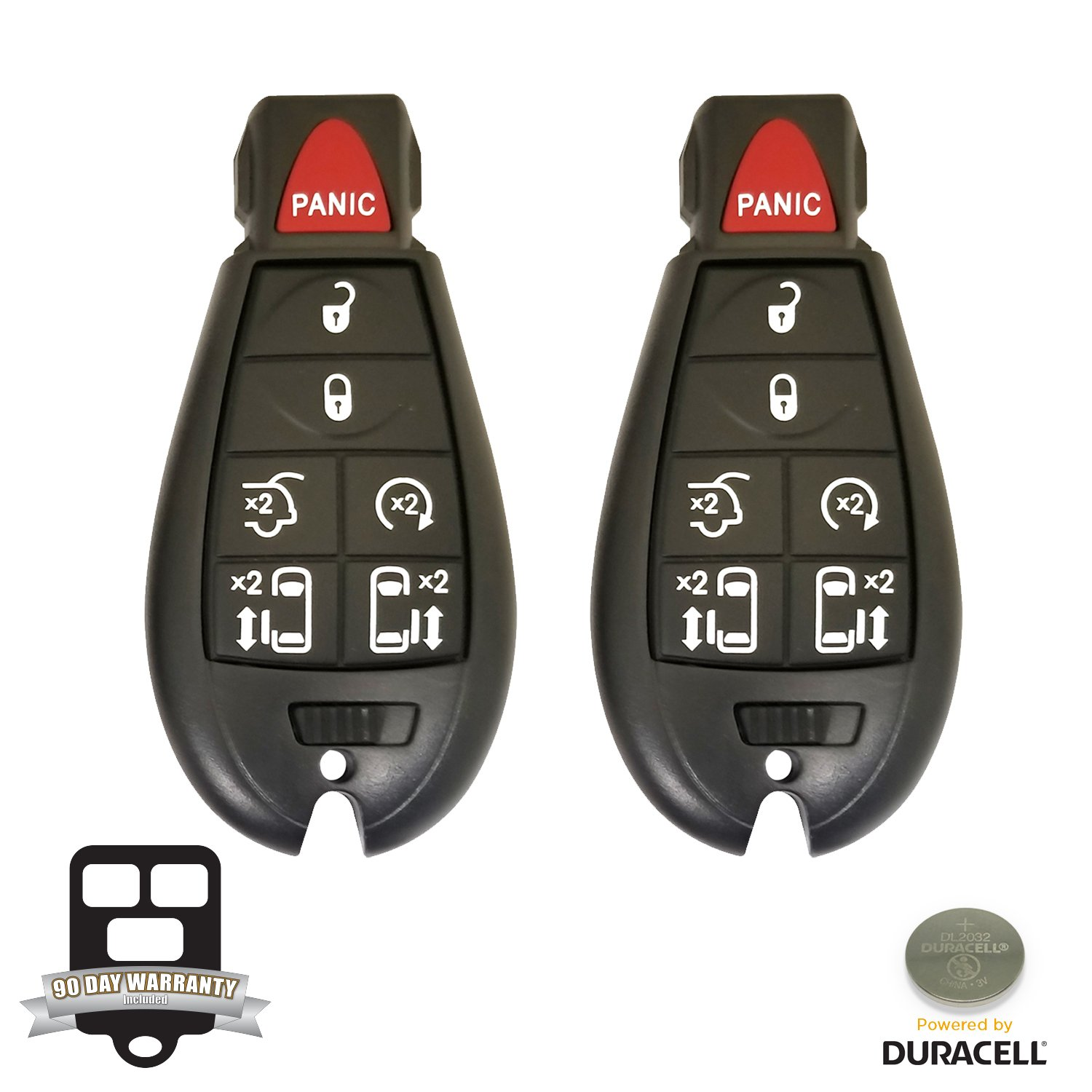 REMOTE STORE New Pair Of 7 Button Replacement For Dodge Grand Caravan Chrysler Town & Country Fobik Keyless Remote FCC: Iyz-C01C