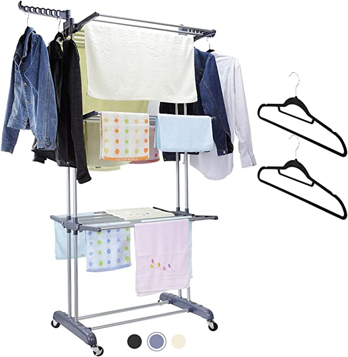 Viajes Cortavientos para Interiores y Exteriores para casa Secado Productos para casa//Cocina QWEPU 10PCS Portable Folding Clothes Hangers Clothes Drying Rack for Travel port/átil