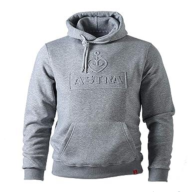 buy online ebc66 5219e ASTRA Hoodie Unisex, mit geprägtem Herzanker-Motiv, bequemer Pullover mit  Kapuze, Cooler Kapuzen-Pulli, für Damen & Herren, Grauer Sweater aus ...