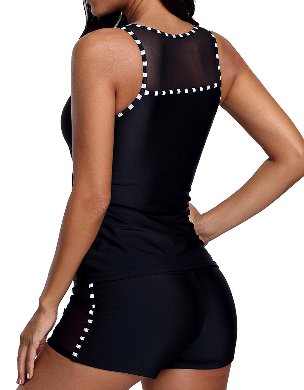 6f50d54e6e296 Dearlovers Womens Mesh Mixed 2 Pieces Tankini Swimsuit Swimwear Plus Size  XX-Large Size Black < Tankinis < Clothing, Shoes & Jewelry - tibs