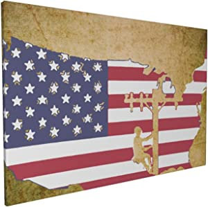 Canvas Wall Art with American Flag Lineman Painting Print, 16