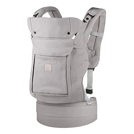 be1bc77f55b GAGAKU Ergonomic Baby Carrier Soft Cotton Front and Back Child Carrier with  Detachable Hood for all Seasons (5-48 Months)- Grey  Amazon.co.uk  Baby