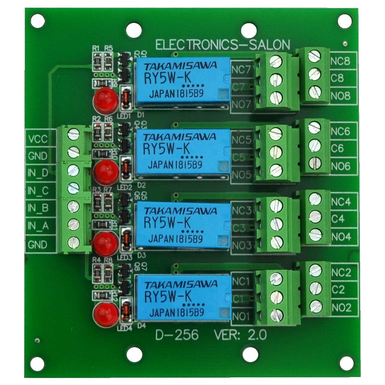 ELECTRONICS-SALON Four DPDT Signal Relay Module Board, 5V version.