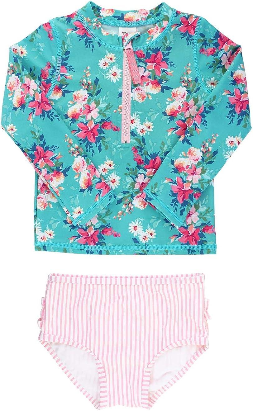 10 RuffleButts Girls Bouncing Blooms Long Sleeve Zipper Rash Guard Bikini