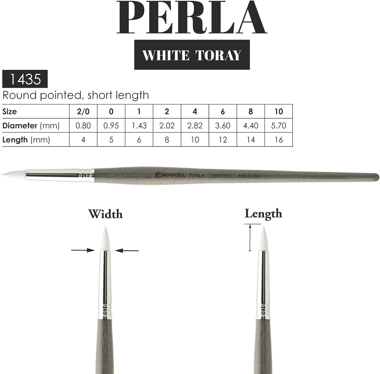 Speedball Art Products Escoda Perla Series Artist Paint Brush Short Pointed Round White Size 6