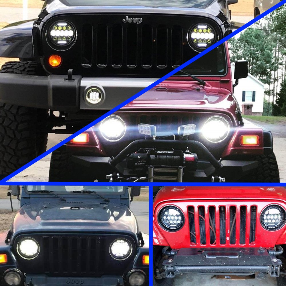 7 Quot 75w Projector Led Headlight 4 30w Fog Lights For Jeep