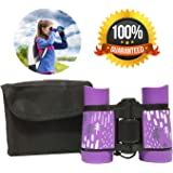 Kid Binoculars Shock Proof Toy Binoculars Set - Bird Watching - Educational Learning - Presents For Kids - Children Gifts - Boys And Girls - Outdoor Play - Hunting - Camping Gear (Purple)