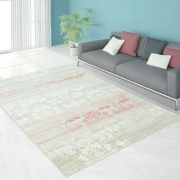 Teppich Modern Designer Wohnzimmer Impression Floral Pastel-Rosa ...
