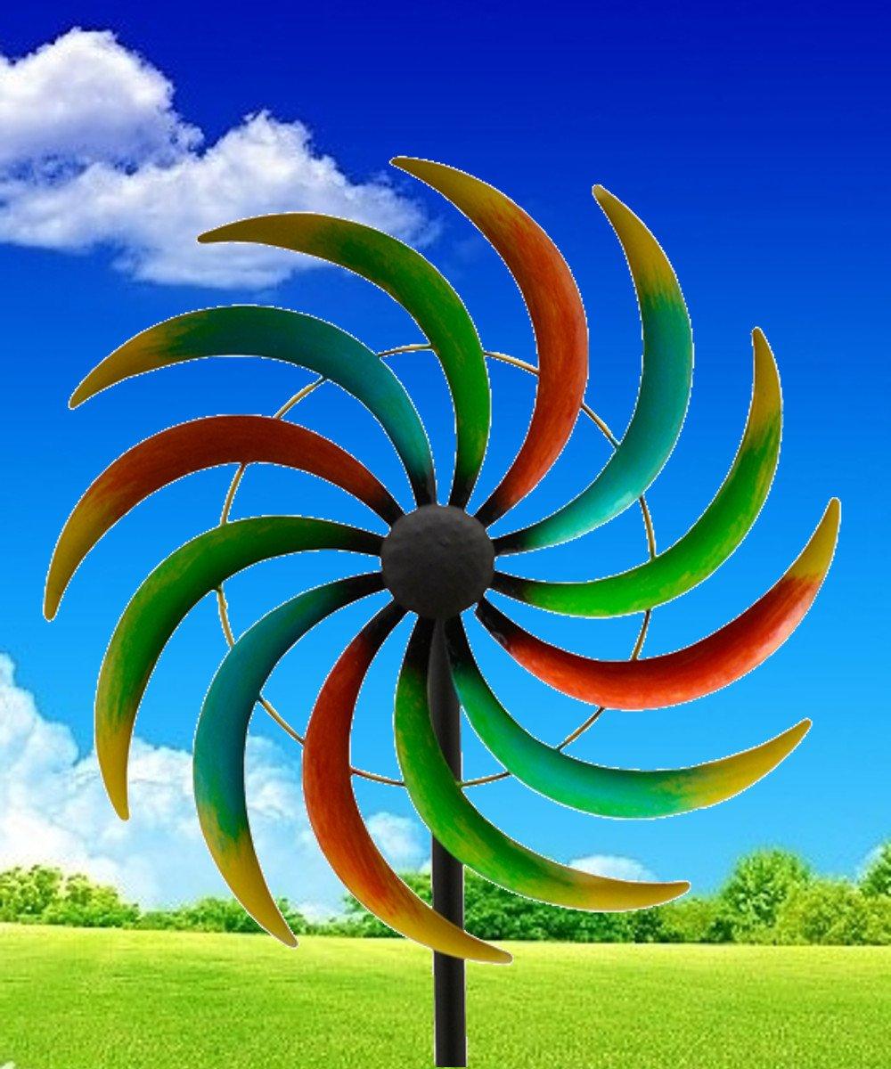 Windrad Regenbogen ArtFerro Windspiel Gartenstecker Metall Ø39,5 H168