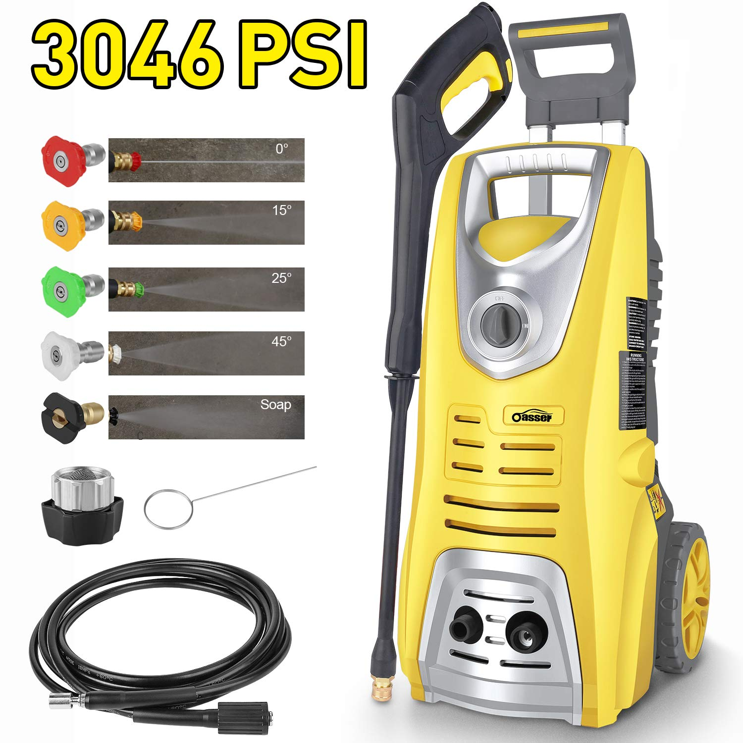 oasser Electric Pressure Washer Power Washer 3046 PSI 1.85 GPM Pressure Cleaner 1800W Car Washer with Spray Gun 5 Nozzles 16ft High Pressure Hose by oasser