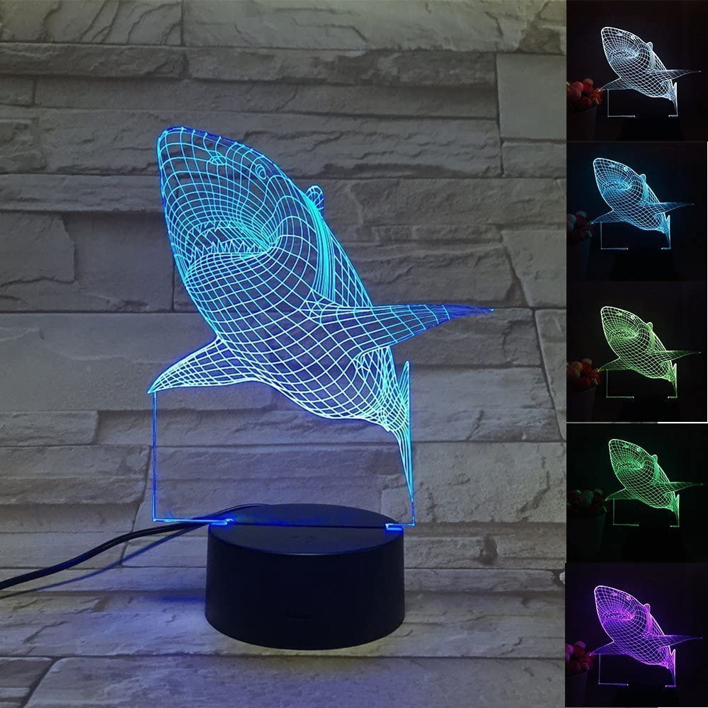 3d Lamp Optical Illusion Desk Lamps Led Night Light,3d Shark Lamp,7 Color Change Desk Lamp with USB Cable Smart Touch Button For Kids Shark