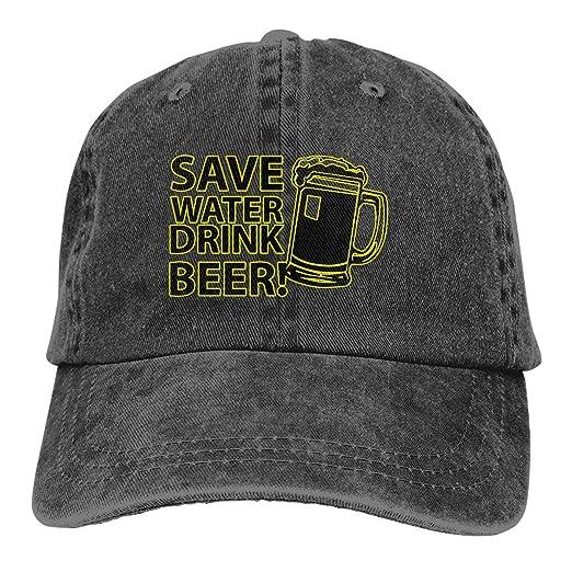 939cec237f3 Amazon.com: Save Water Drink Beer Adult Unisex Adjustable Dad-Hat ...
