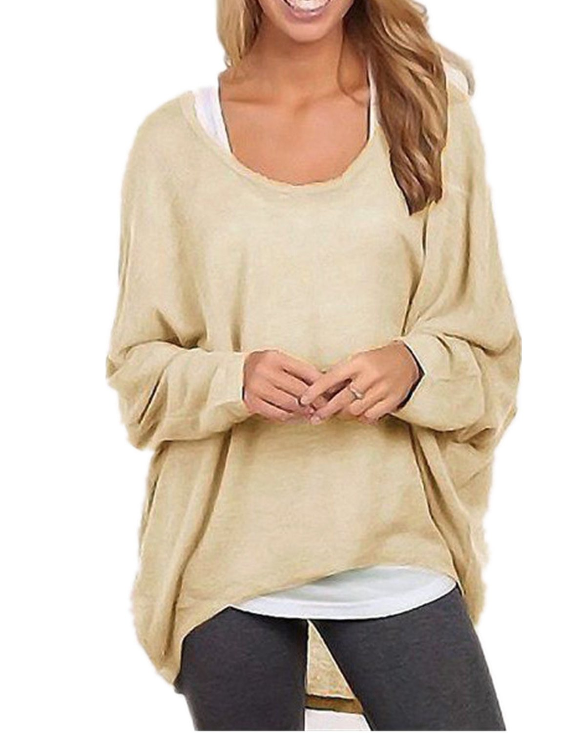 ZANZEA Women's Long Batwing Sleeve Loose Oversize Pullover Sweater Top Blouse Beige US 6/Tag Size S