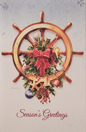Amazon.com : Nautical Christmas Cards, Ship\'s Wheel, Embossed by ...