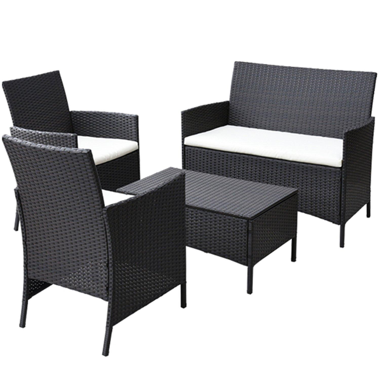 山善(YAMAZEN) ガーデンマスター ラタン調 テーブル&チェア(4点セット) ガーデン4点セット(テーブル×1 チェア×2、ソファ×1) CSE-4(DBR) B07C8WVCYP
