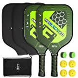 A11N Premium Pickleball Paddle Set - Graphite Face and Honeycombed Polymer Core Paddles | Durable Balls