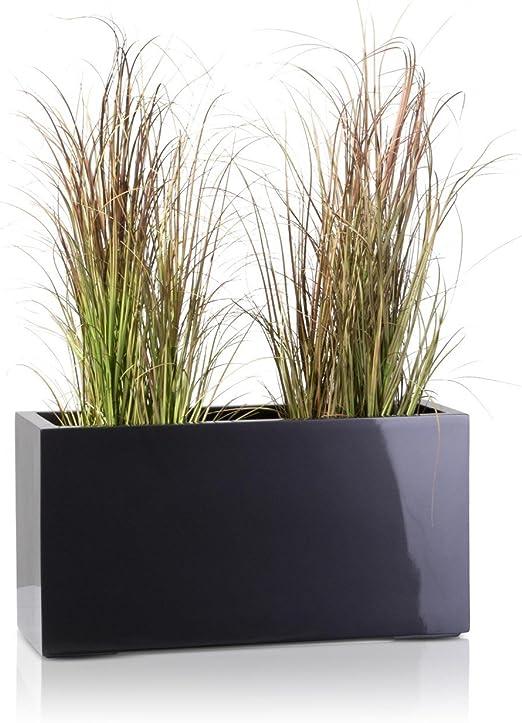 Maceta, jardinera de fibra de vidrio VISIO – color: gris metálico ...